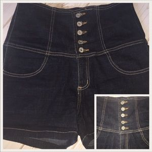 High waisted stretch jean shorts multiple button
